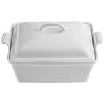 Le Creuset Heritage White Stoneware Covered Square Casserole Dish, 2.5 Quart