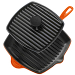 Le Creuset 2 Piece Flame Enameled Cast Iron Panini Press and Skillet Grill Set