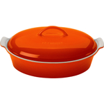 Le Creuset Heritage Flame Stoneware Covered Oval Casserole Dish, 4 Quart