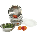 RSVP Stainless Steel Prep Bowls Set with Lids, Set of 4