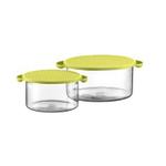 Bodum Hot Pot 2 Piece Glass Bowl Set with Green Silicone Lids