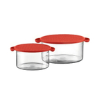 Bodum Hot Pot 2 Piece Glass Bowl Set with Red Silicone Lids