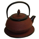 Japanese Tetsubin Cast Iron Sienna Red Teapot