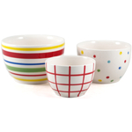 Boston Warehouse Pantry Stripe Ceramic Prep Bowls, Set of 3