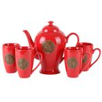 Red Asian Symbol Teapot & Teacup 5 Piece Set