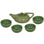 Jade Green 5 Piece Asian Teapot Set & 4 Cups