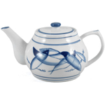 Blue and White Chinese Restaurant Fish Teapot 32 Ounce