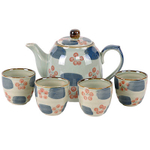 Asian Cherry Blossom Ceramic Teapot Set with Cups, Service for Four