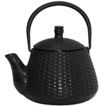 Black Basket Weave Japanese Tetsubin Cast Iron Teapot