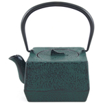 Green Traditional Square Japanese Tetsubin Teapot