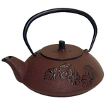 Brick Red Leaf Japanese Tetsubin Cast Iron Teapot