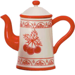 Cherry Glazed Ceramic Teapot