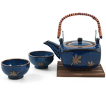 Traditional Japanese Cobalt Blue Tea Set 4 Pieces