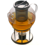 Chinese Yixing Glass Tea Pot and Warmer with Stainless Steel Infuser