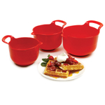 Norpro Red 3 Piece Nesting Mixing Bowl Set