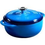 Lodge Caribbean Blue Enamel Cast Iron Dutch Oven, 4.5 Quart