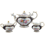 Victorian Floral Gold Leaf Porcelain Tea Set 17 Pieces
