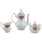 Traditional Rose Gold Leaf Porcelain Tea Set 17 Pieces