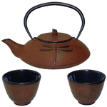 Brown Dragonfly Cast Iron Japanese Tetsubin & Cups