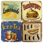 Summer Time Iced Tea Tumbled Marble Coasters 4 pc Set