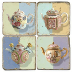 Shabby Chic Teapots Tumbled Marble Coaster, Set of 4