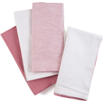 Pink and White Two-tone 100% Cotton Dinner Napkins, Set of 12