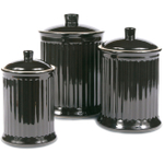 OmniWare Simsbury Black Stoneware Canister, Set of 3