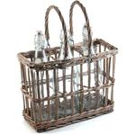 Glass Flip Top Beverage Bottle with Willow Basket, Set of 3