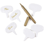Norpro 7 Piece White Porcelain Cheese Marker Set with Pen