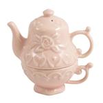 Tea For One Pink Stoneware Salt and Pepper Shaker Set