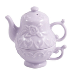 Tea For One Lavender Stoneware Salt and Pepper Shaker Set
