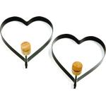 Norpro Nonstick Black Metal Heart Pancake Egg Ring, Set of 2