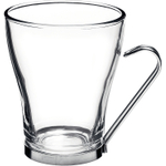 Bormioli Rocco Verdi Glass Multipurpose Cup with Stainless Steel Handle, Set of 4
