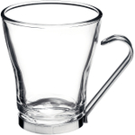 Bormioli Rocco Verdi Glass 7.5 Ounce Cappuccino Cup with Stainless Steel Handle