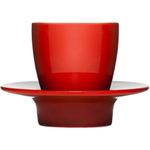 Sagaform Cafe Loop Red Stoneware Espresso Cup with Saucer Lid, Set of 2