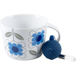 Sagaform White and Blue Stoneware Daisy Tea Set