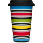 Sagaform Take Away Studio Porcelain Double-Walled Mug with Silicone Lid, 8.5 Ounce