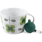 Sagaform White and Green Stoneware Clover Tea Set