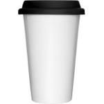 Sagaform White Double-Walled Porcelain Take Away Mug with Black Silicone Lid, 11.75 Ounce