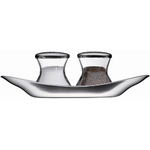 WMF Wagenfeld Stainless Steel and Glass 3 Piece Salt and Pepper Set