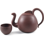 Brown Ostrich Silhouette Yixing Teapot with 4 Teacups