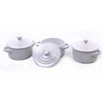 Le Creuset White Snowflake Stoneware Mini Cocotte, Set of 3