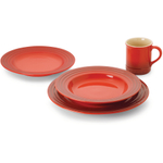 Le Creuset 16 Piece Cherry Stoneware Dinnerware Set, Service for 4