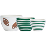 Boston Warehouse Touchdown Prep Bowl, 3 Piece Set