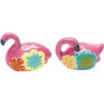 Boston Warehouse Flamingo & Friends Pink Earthenware Salt and Pepper Shaker Set