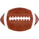 Boston Warehouse Touchdown Brown Earthenware Football Plate, Set of 4