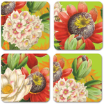 Studio Oh! Lime Green Floral Paper Coasters, Set of 12