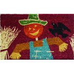 Harvest Scarecrow Mid-Thickness Hand Woven Coir Doormat, 18 x 30 Inch