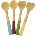 Architec 4 Piece Natural Bamboo Kitchen Tool Set with Multicolored Handles