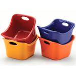 Rachael Ray Bubble and Brown Multi-Colored Square Ramekin, Set of 4